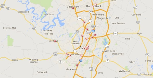 STD Test options - Austin TX map