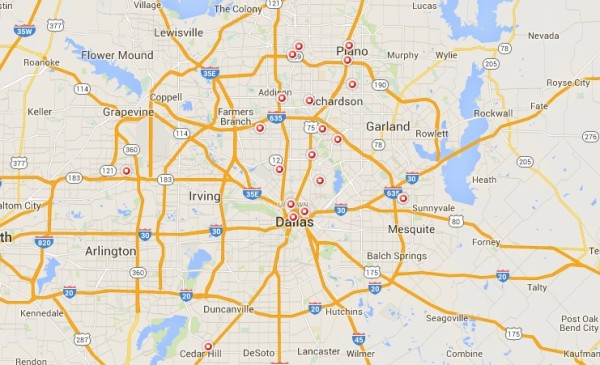 STD Test options - Dallas TX map