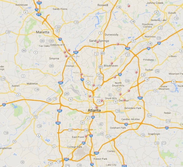STD Test options - Atlanta GA map