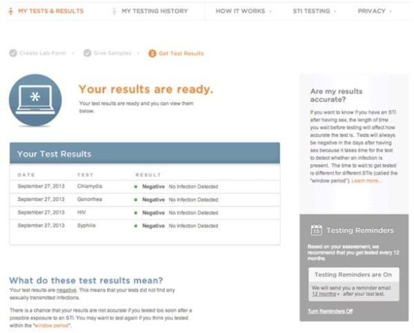std online test lab sample results