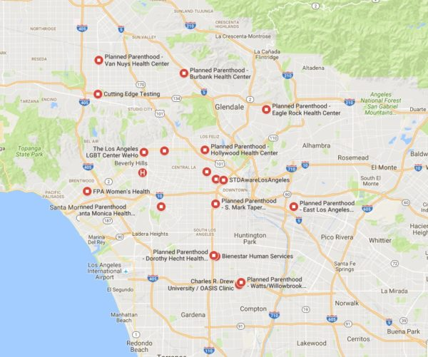STD Test Options in Los Angeles map