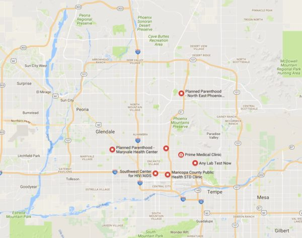 STD Test Options in Phoenix map