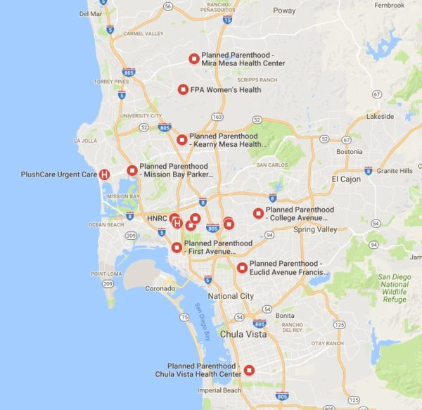 STD Test Options in San Diego map