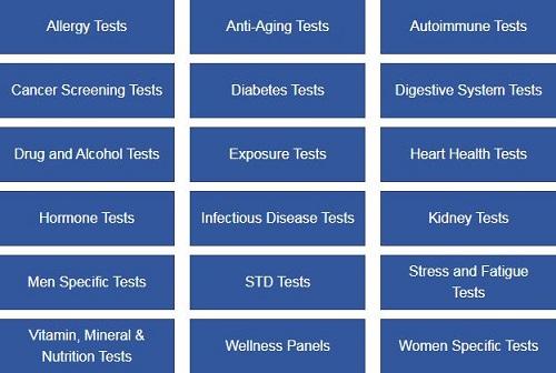 walk-in lab test categories